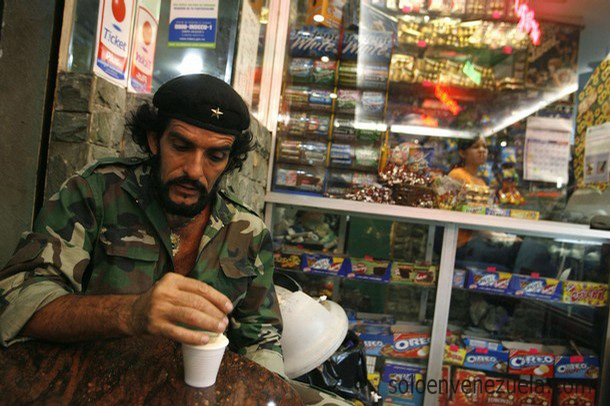 """Humberto Lopez, known as """"Che"""" of Caracas drinks coffee in Caracas"""